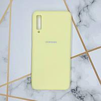 Силиконовый матовый чехол Silicone Case для Samsung Galaxy A7(2018) A750 Жёлтый