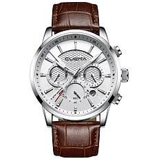 Чоловічі стильні водонепроникні годинники CUENA 6805 Brown-Silver