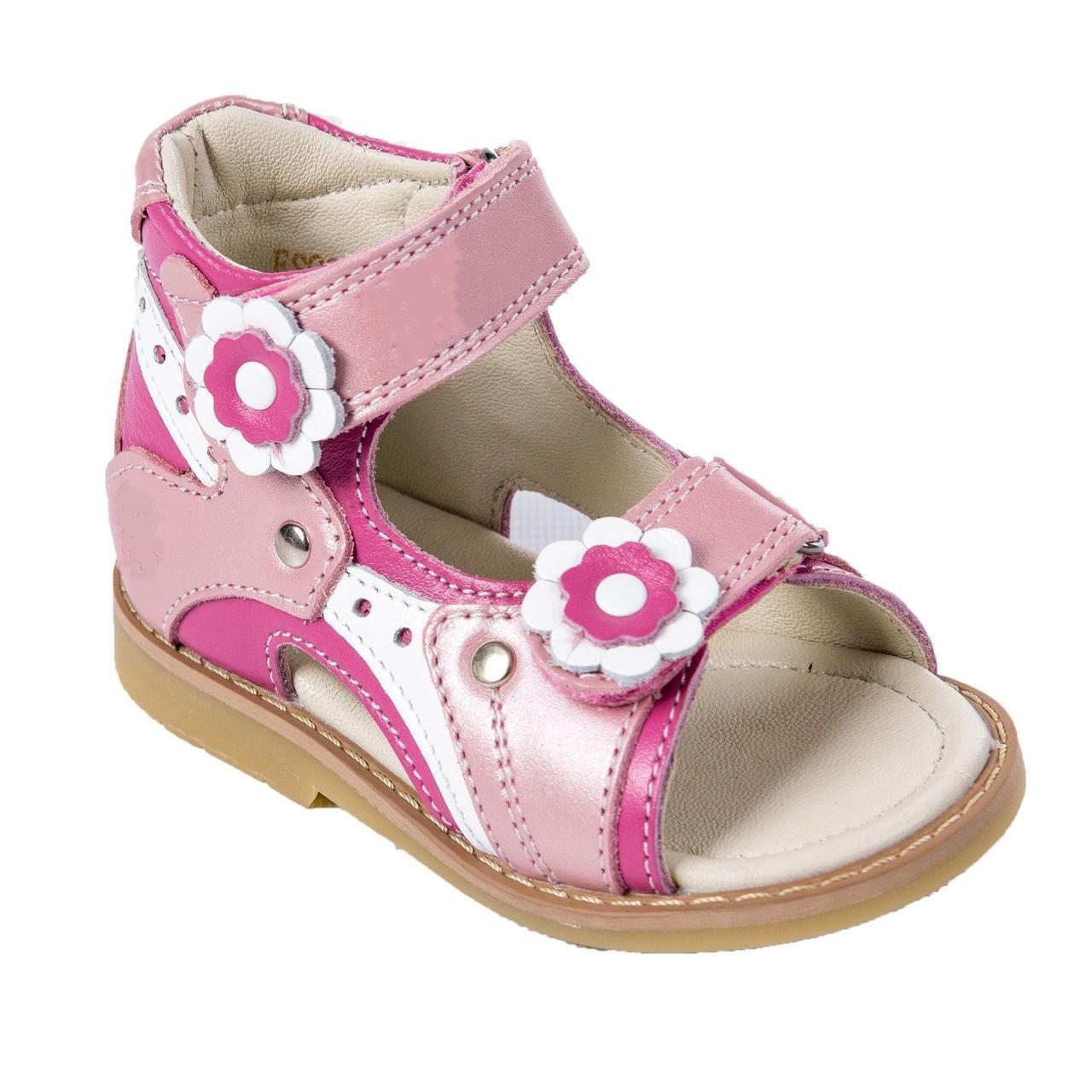 Ортопедические сандалии для девочки с супинатором Ortop 002-1Pink(кожа), цвет розовый с белым, размер 20