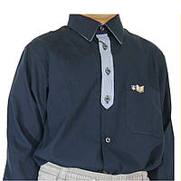 Рубашка детская и подростковая Davanti,тёмно синяя,школьная. С длинным рукавом и отделкой спереди. Разм. 6-18.
