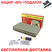 Набор инструмента AIWA PT/DR-18 41-Piece bit and Socket Set + нож- визитка, фото 1