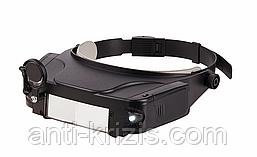 Наголовник спеціальний - лупа бінокулярна 81007C 11X з підсвічуванням, лінзою і дзеркалом