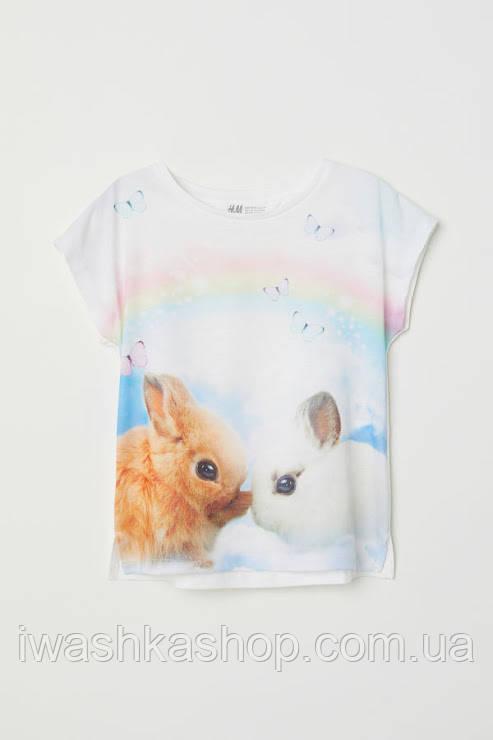 Удобная футболка с радугой и кроликами на девочек 4 - 6 лет, р. 110 - 116, H&M