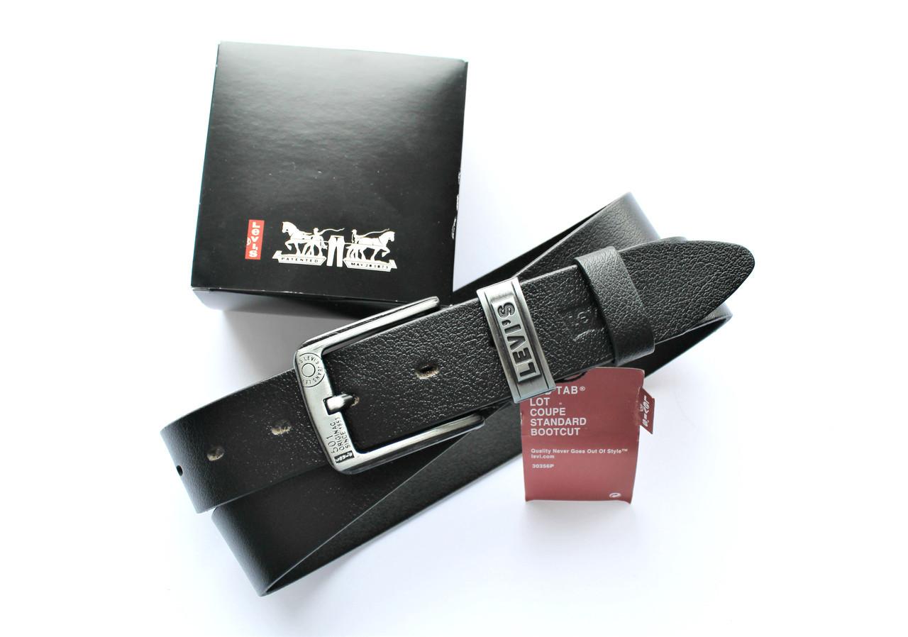Мужской кожаный ремень LEVIS +коробка в подарок!