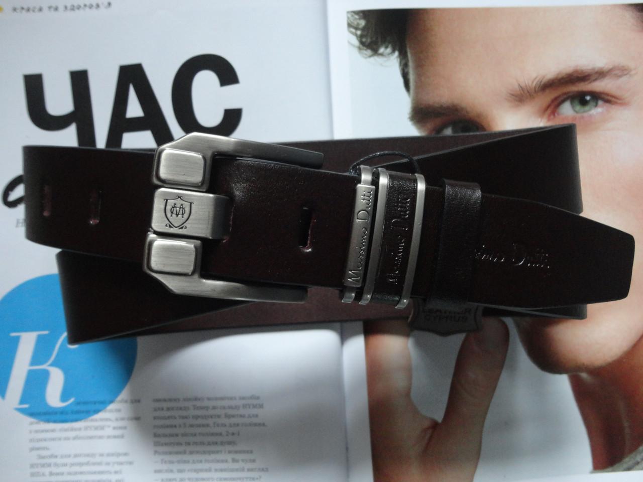 Модный кожаный ремень Massimo Dutti темно-коричневый