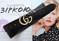 Женский кожаный ремень GUCCI ширина 3 см пряжка бронза, фото 1
