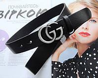 Женский кожаный ремень GUCCI ширина 3 см пряжка серебро белый хром, фото 1