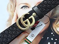 Женский кожаный ремень GUCCI с тиснением пряжка золото, фото 1