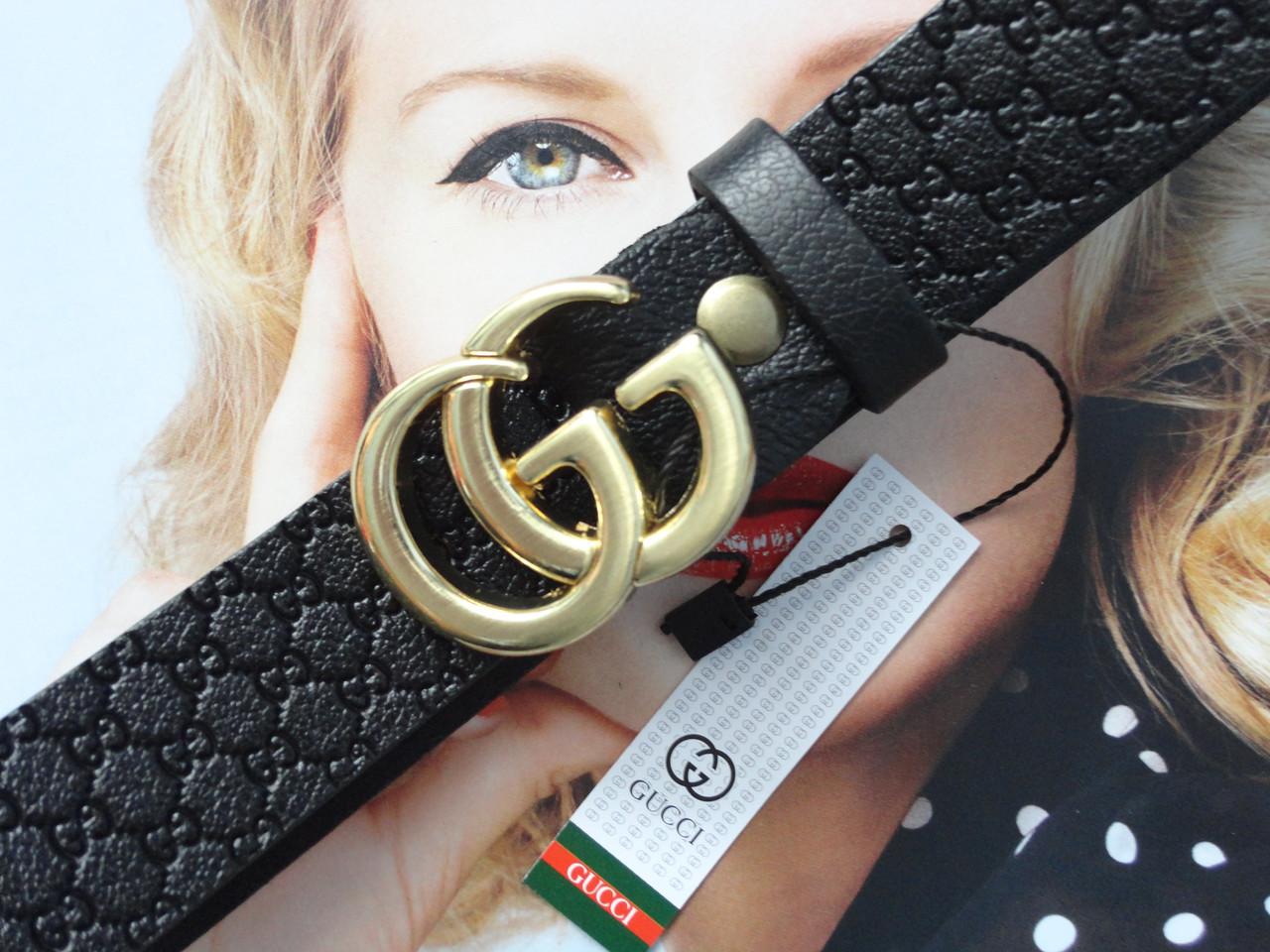 Женский кожаный ремень GUCCI с тиснением пряжка золото