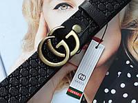 Женский кожаный ремень GUCCI с тиснением пряжка бронзовая, фото 1