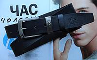 Мужской кожаный ремень Lacoste темно-синий