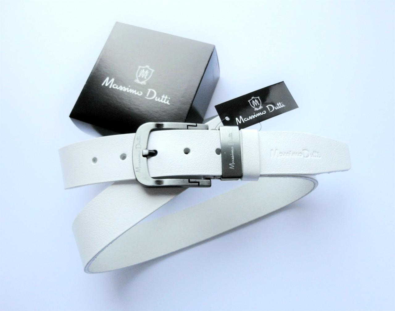 Модный кожаный ремень Massimo Dutti белый