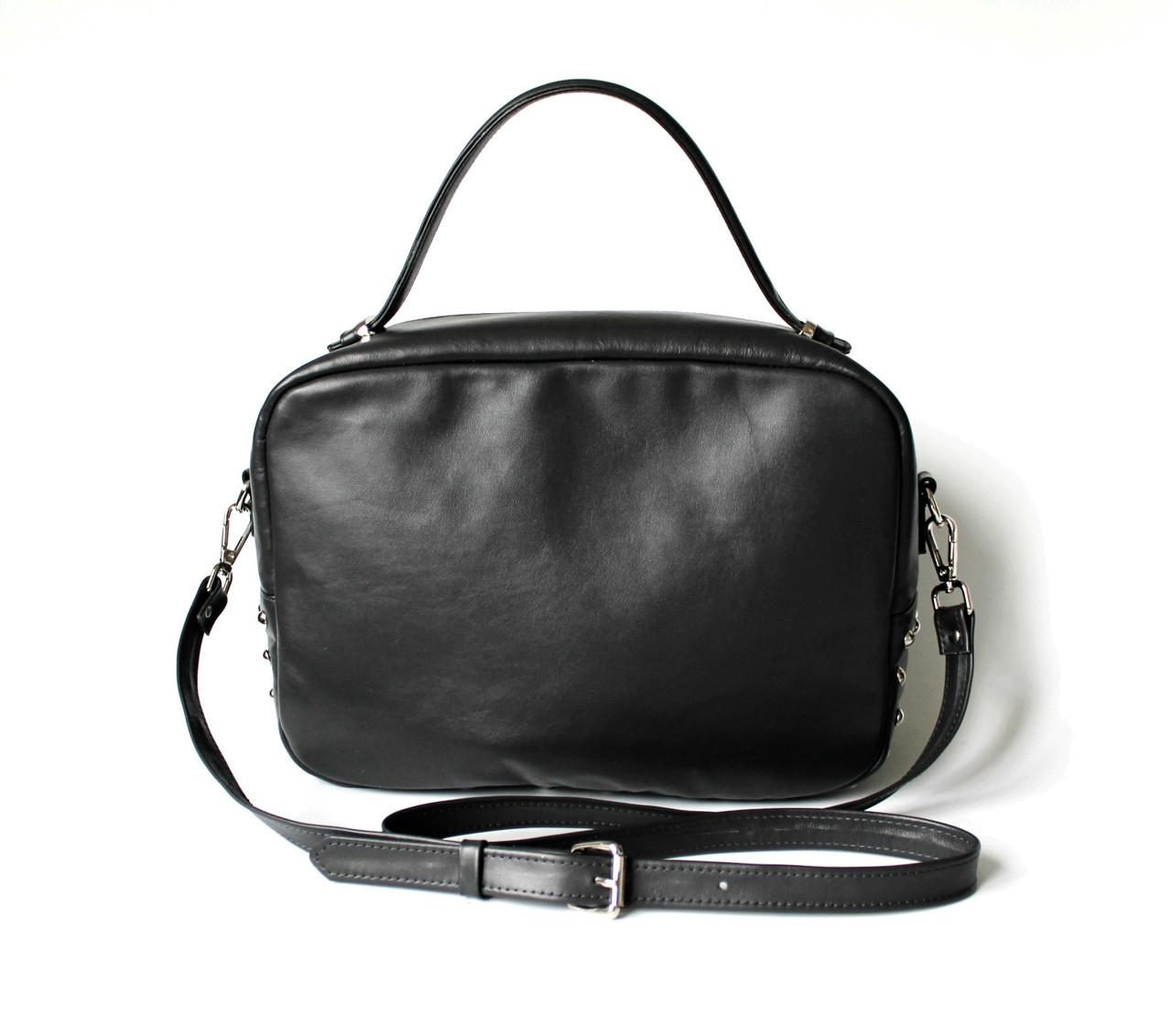 """Удобная женская кожаная сумка черная """"Classic_Black"""""""