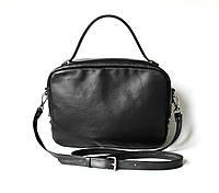 """Удобная женская кожаная сумка черная """"Classic_Black"""", фото 1"""