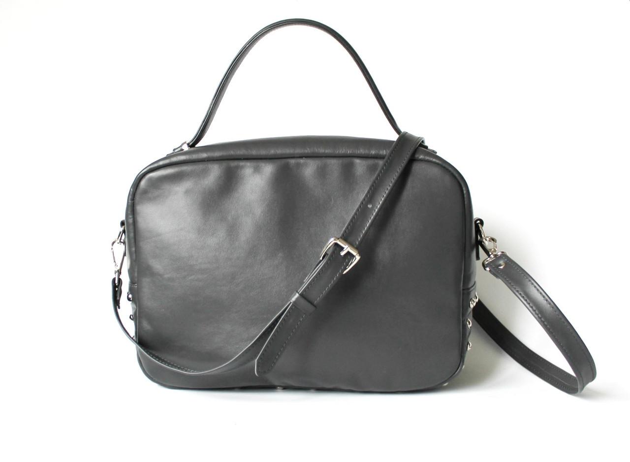 """Удобная женская кожаная сумка темно-серая """"Classic_Grey"""""""