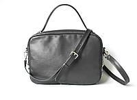"""Удобная женская кожаная сумка темно-серая """"Classic_Grey"""", фото 1"""