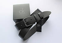Мужской кожаный стильный ремень черная пряжка, фото 1