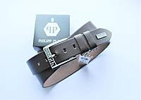Кожаный ремень Philipp Plein для джинсов коричневый, фото 1
