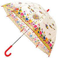 Прозрачный детский зонт Zest. Расцветка Цветная поляна, фото 1