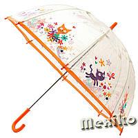 Прозрачный детский зонт Zest. Расцветка Оранжевые коты, фото 1