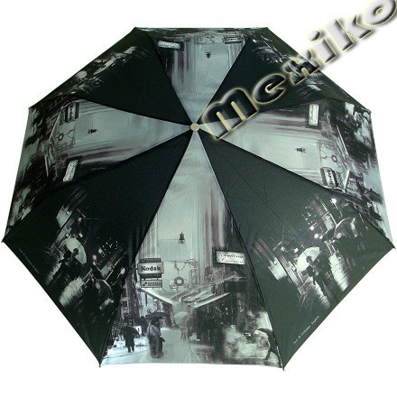Женский зонт ZEST полный автомат серия Фото, расцветка Черно-белый город
