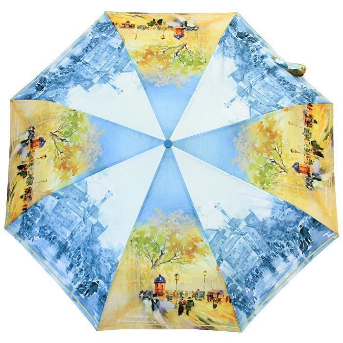 Компактный женский зонт ZEST 4 сложения  полуавтомат серия Фото, расцветка Лондон