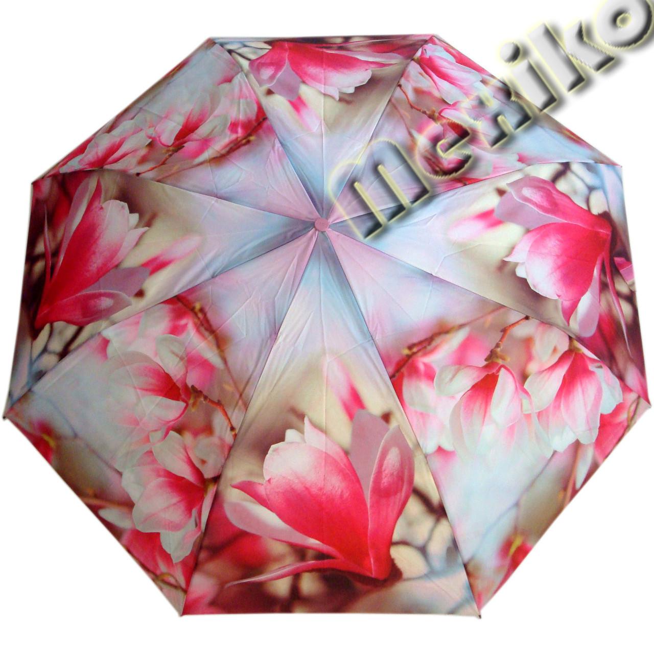 Компактный женский зонт ZEST 4 сложения  полуавтомат серия Фото, расцветка Цветок Сакуры