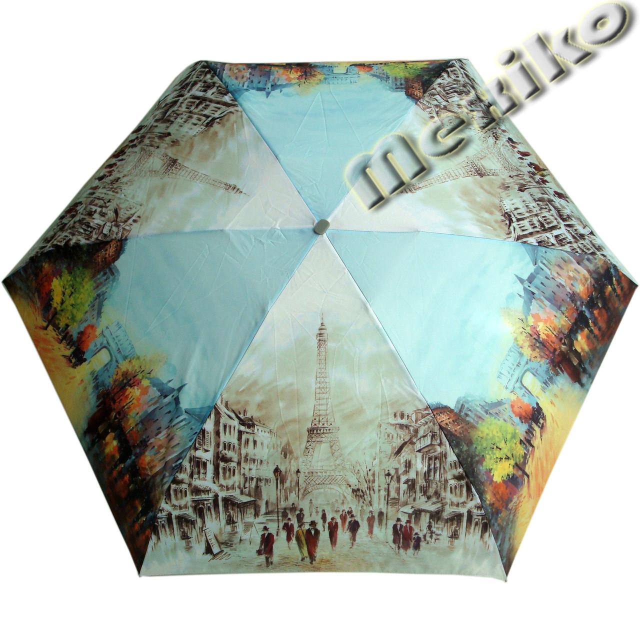 Зонт ZEST женский механика 5 сложений, цветной плоский. Расцветка Париж