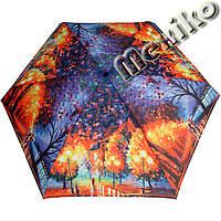 Зонт ZEST женский механика 5 сложений, цветной плоский. Расцветка Осень в Нью-Йорке