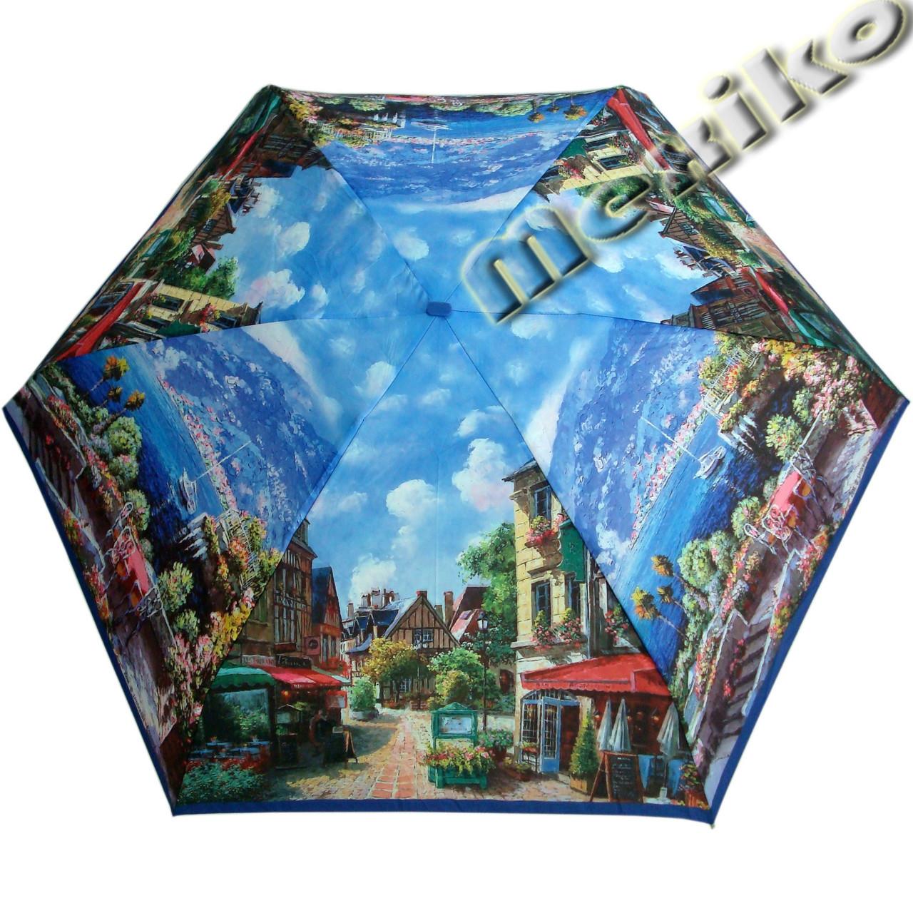 Зонт ZEST женский механика 5 сложений, цветной плоский. Расцветка Морской