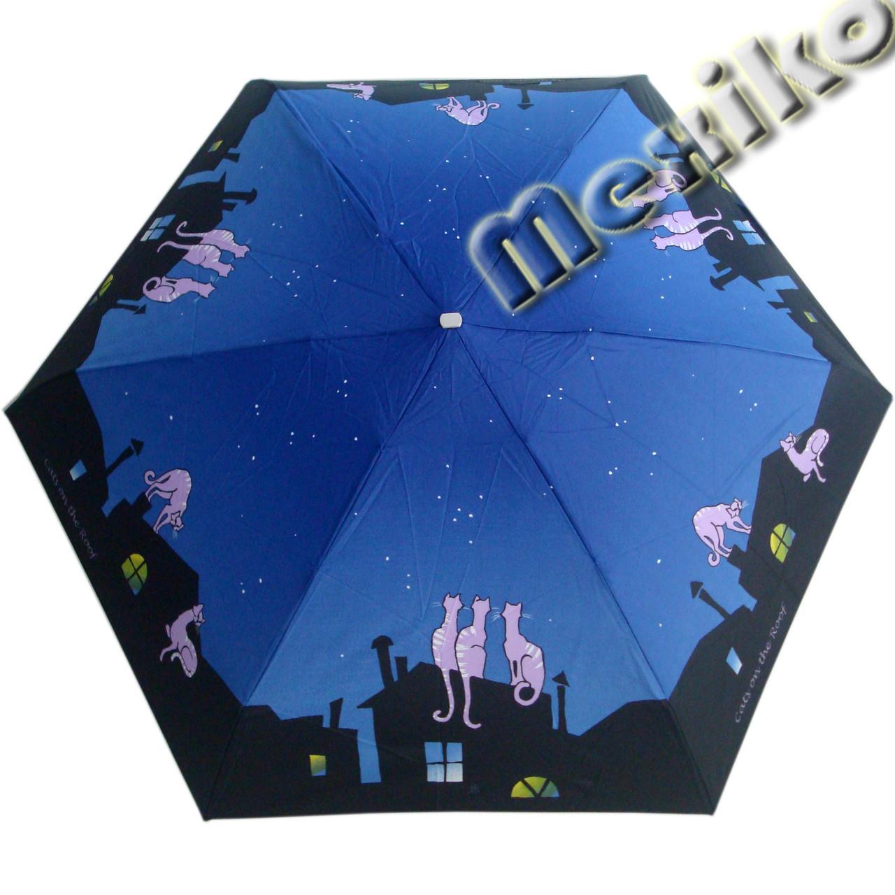 Зонт ZEST женский механика 5 сложений, цветной плоский. Расцветка Коты на крыше