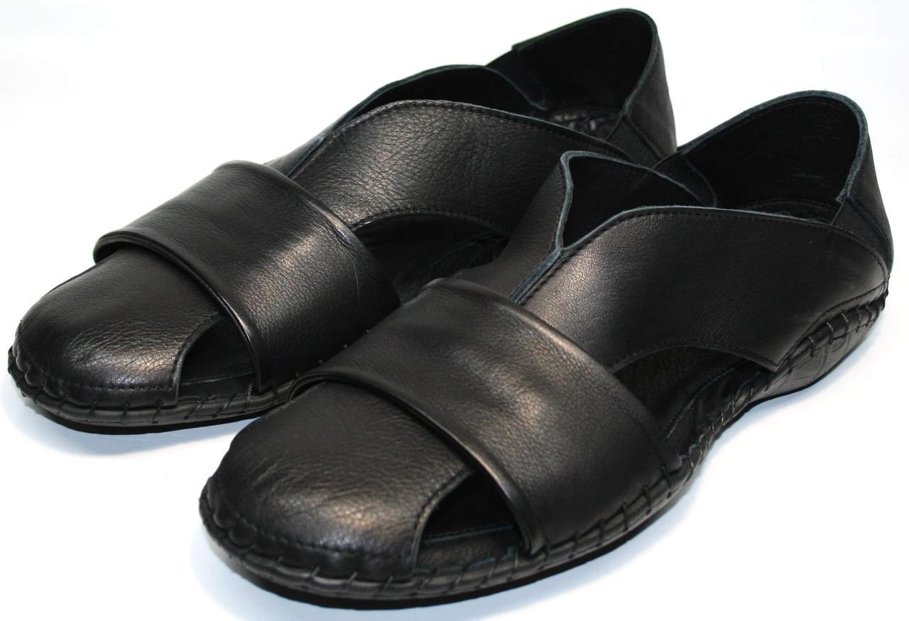 Черные босоножки сандали мужские кожаные