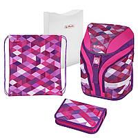 Ранец школьный укомплектованный Herlitz MOTION PLUS Cubes Pink Кубики Розовые (50020362)