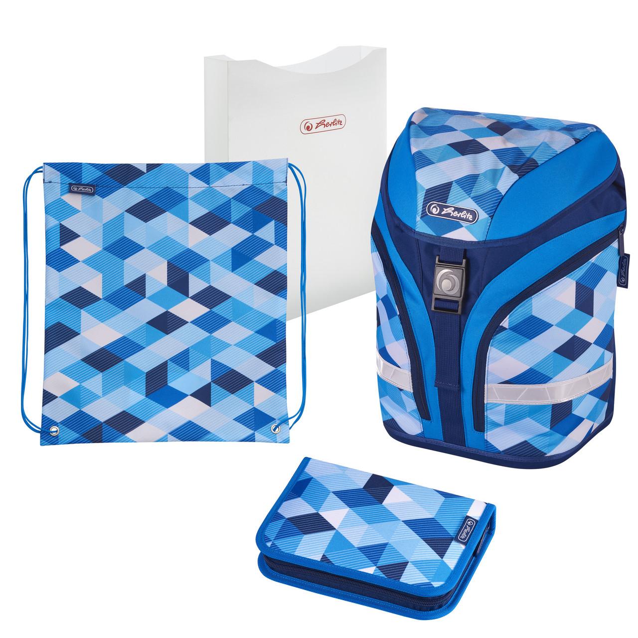 Ранец школьный укомплектованный Herlitz MOTION PLUS Cubes Blue Кубики голубые (50020393)