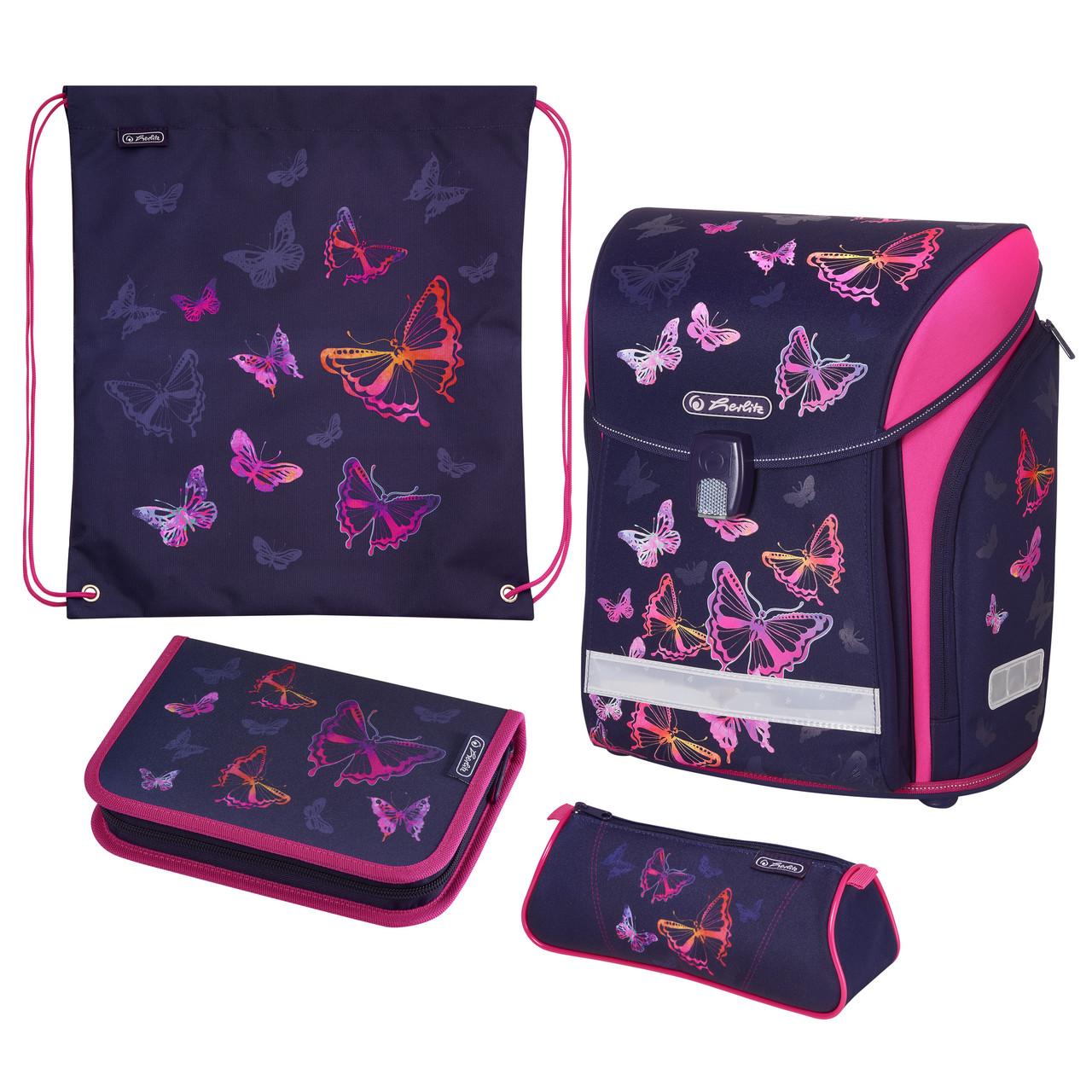 Ранец школьный укомплектованный Herlitz MIDI PLUS Butterfly Rainbow Бабочки (50020416)