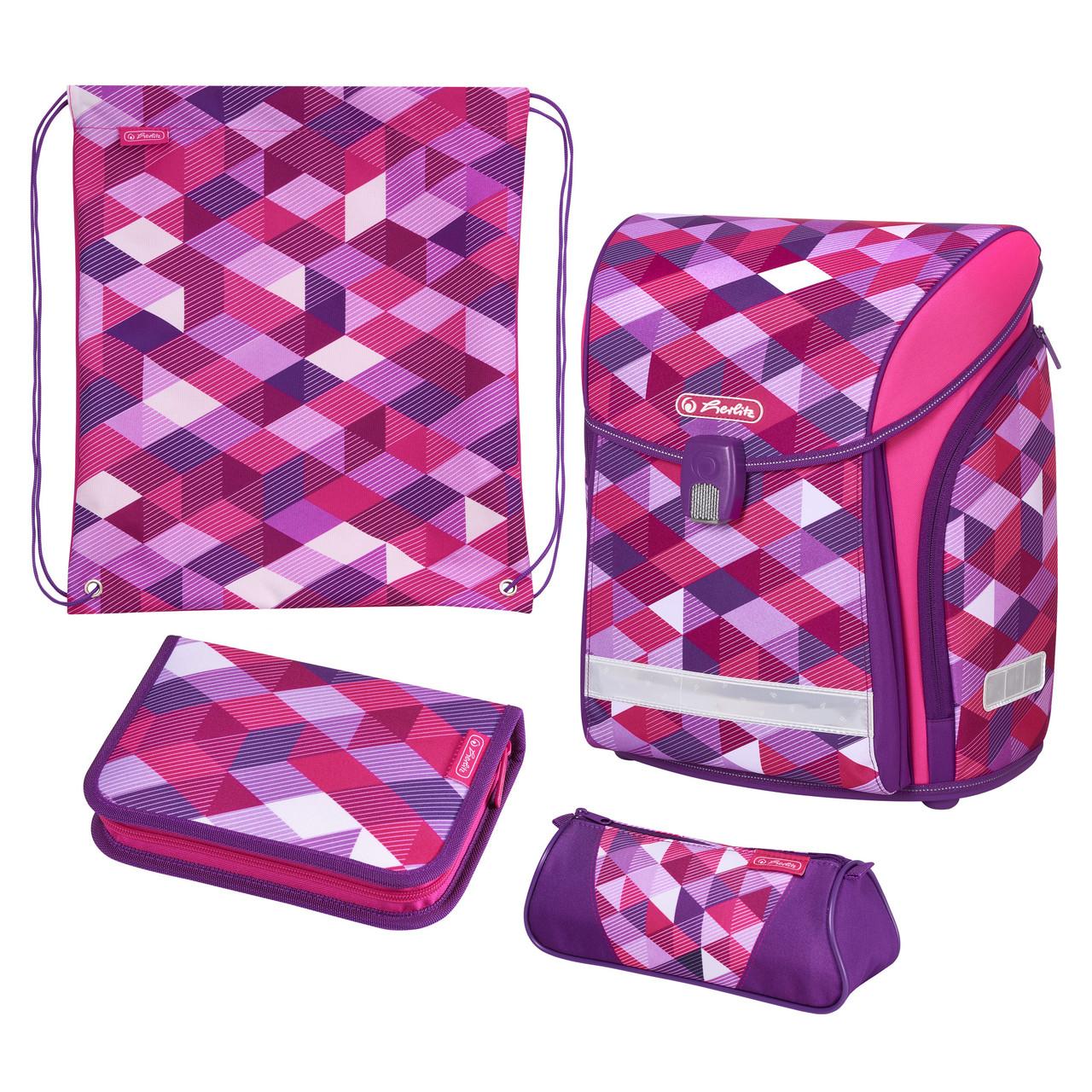 Ранец школьный укомплектованный Herlitz MIDI PLUS Cubes Pink Кубики розовые (50022083)