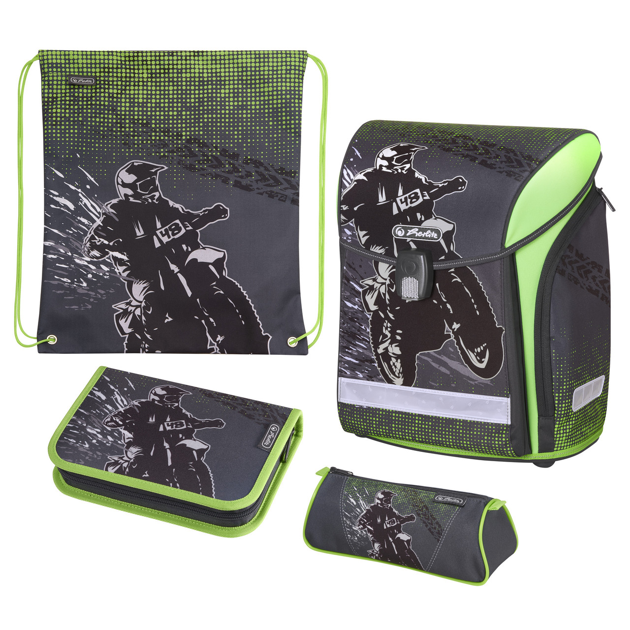 Ранец школьный укомплектованный Herlitz MIDI PLUS Motocross (50020423)