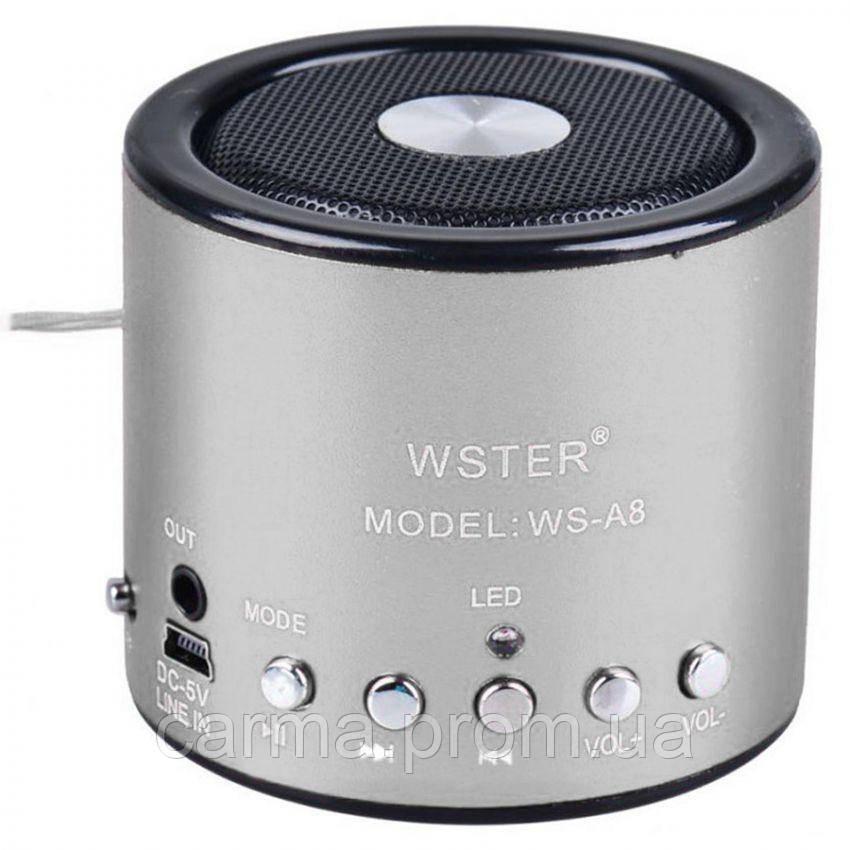 Портативная Bluetooth колонка WSTER WS A8 Серая