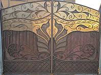 Ворота ручной художественной ковки в стиле флористика 4х3м