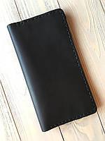 Кожаное портмоне ручной работы Goose™ Classic черный (кошелек, бумажник, клатч)