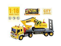 Фрикционная машина грузовик с эскаватором, свет, звук