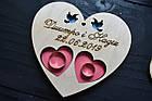 Блюдце для колец, подставка для колец в цвете из дерева с гравировкой и голубями для свадебной церемонии., фото 2