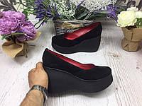 Женские туфли на платформе ЗАМШ ЧЁРНЫЙ