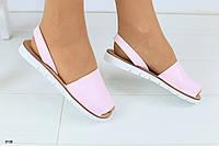Женские кожаные босоножки, на низком ходу, розовые