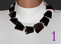 Ожерелье из гранёных кусков чёрного агата