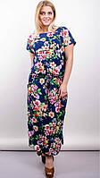 Женское летнее платье свободное «Дезире» (Синее, бежевое | 50-52; 54-56; 58-60; 62-64)