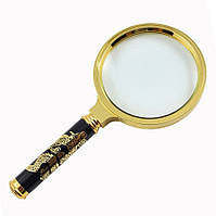 Лупа діаметр 70 мм ручка золотий дракон, фото 1