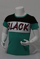 """Футболка подростковаядля мальчика """"Black""""от 10до 13лет цвет зеленый с черным"""