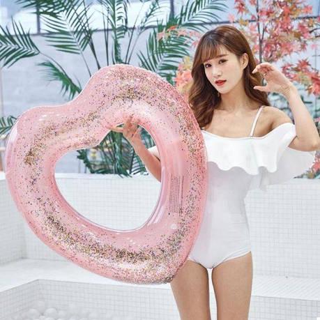 Надувной круг NZY Sewin Love с блестками Сердце 90 см Розовый (124037), фото 2