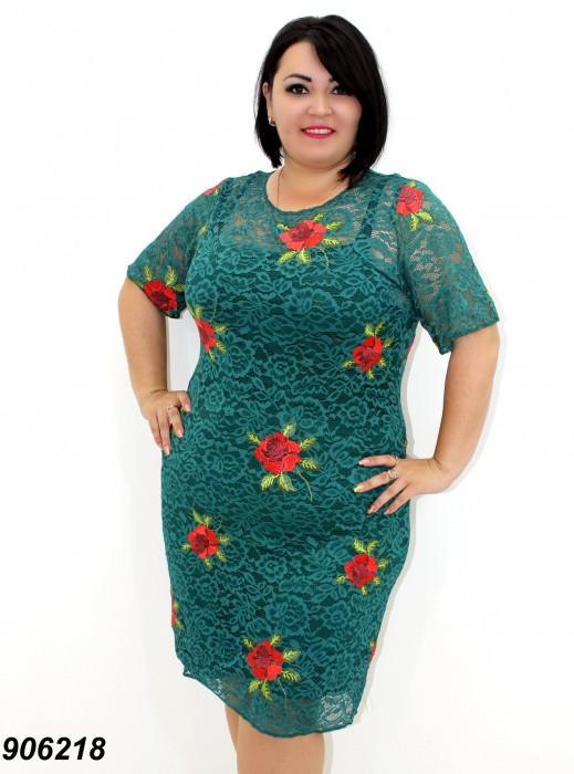 Нарядное гипюровое платье с вышивкой,зеленое 50,52,54,56
